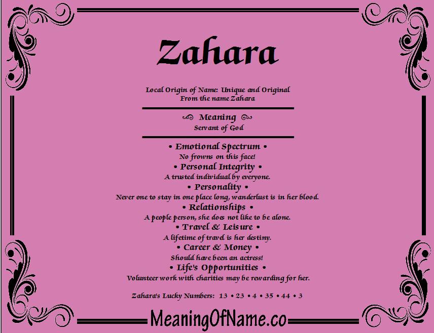 Meaning Of Name Zahara