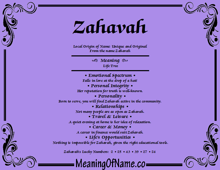 Meaning of Name Zahavah