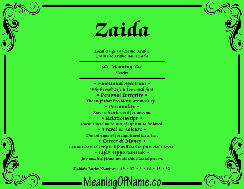 Meaning of Name Zaida