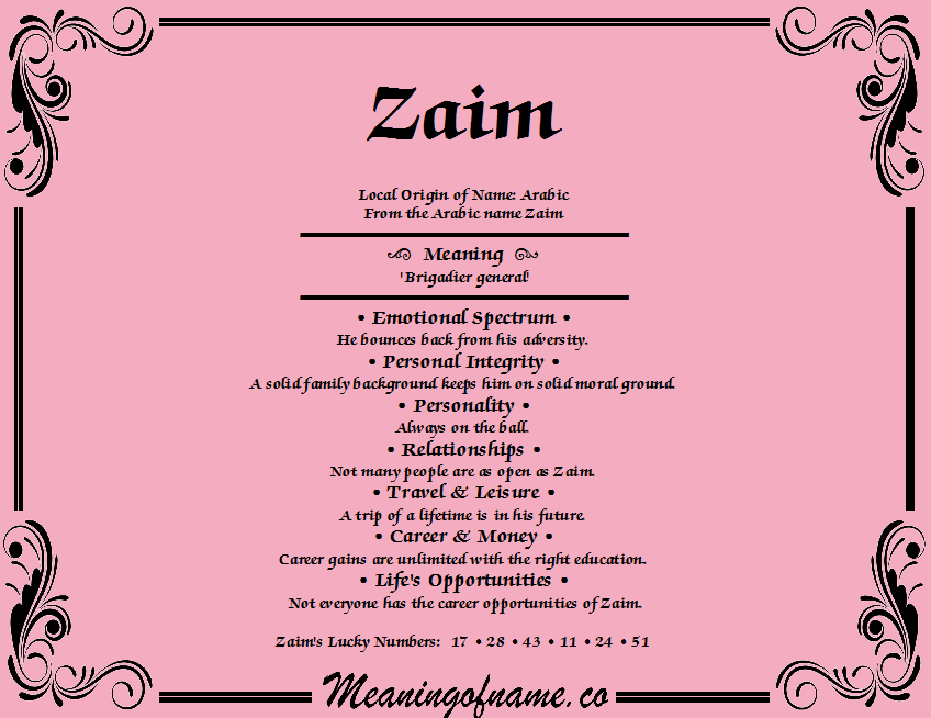Meaning of Name Zaim