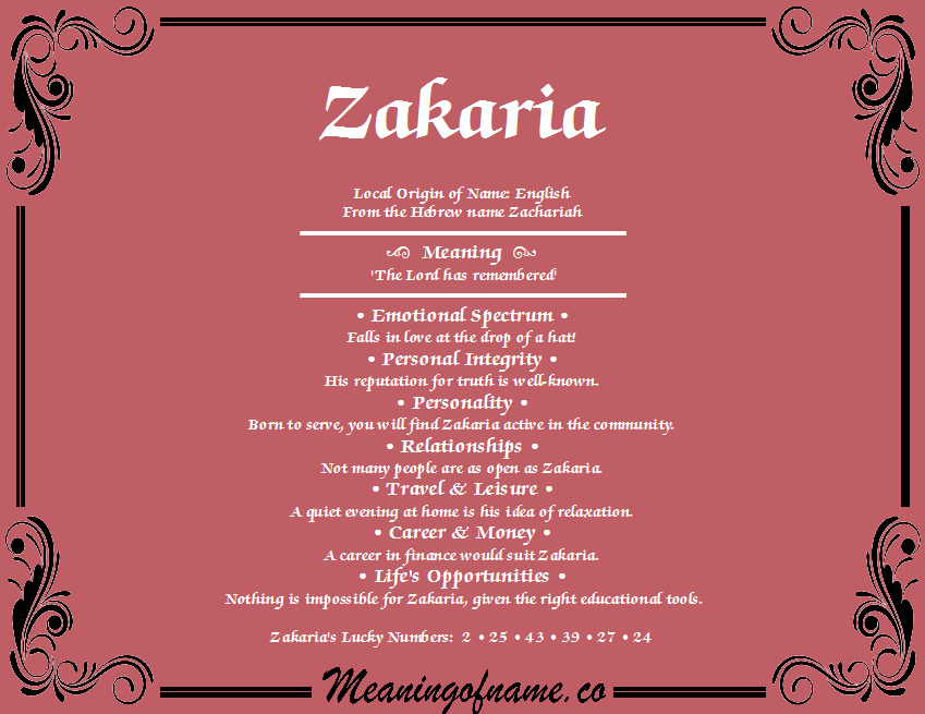 Meaning of Name Zakaria