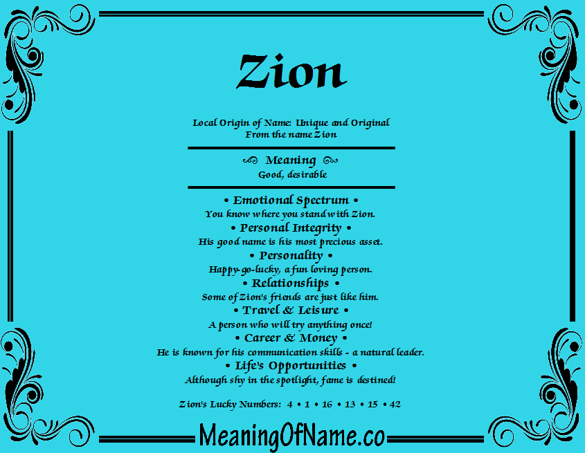 48++ Baby name meaning zion information
