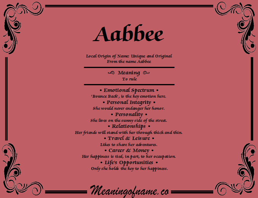 Meaning of Name Aabbee
