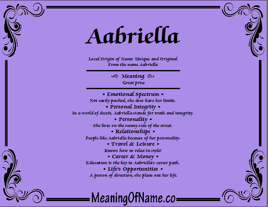 Meaning of Name Aabriella