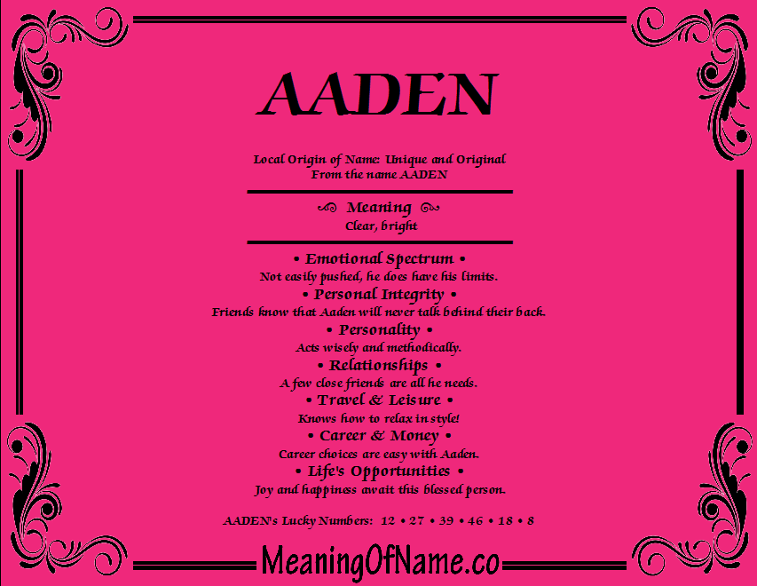 Meaning of Name Aaden