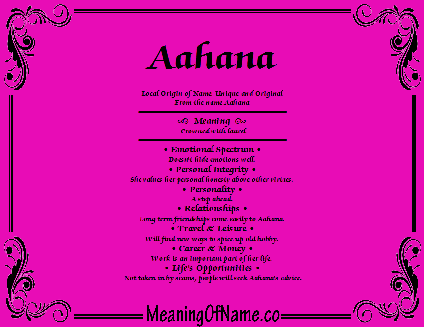 Meaning of Name Aahana