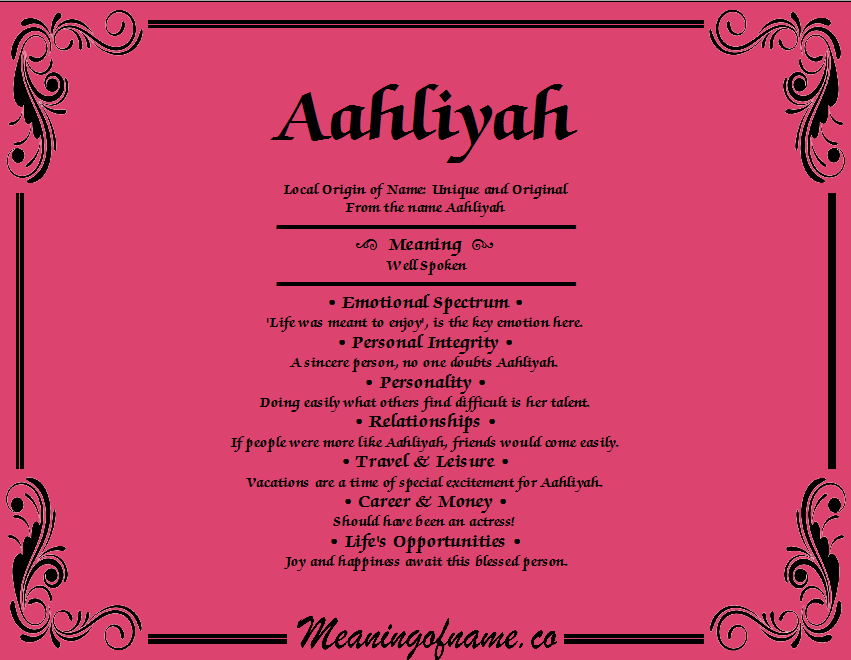 Meaning of Name Aahliyah