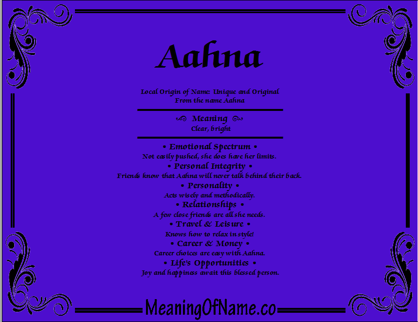 Meaning of Name Aahna