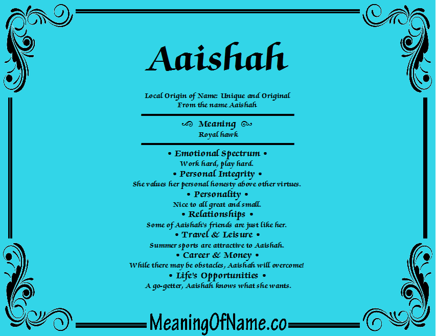 Meaning of Name Aaishah