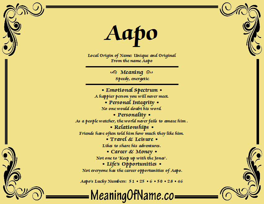 Meaning of Name Aapo