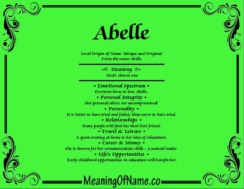 Meaning of Name Abelle