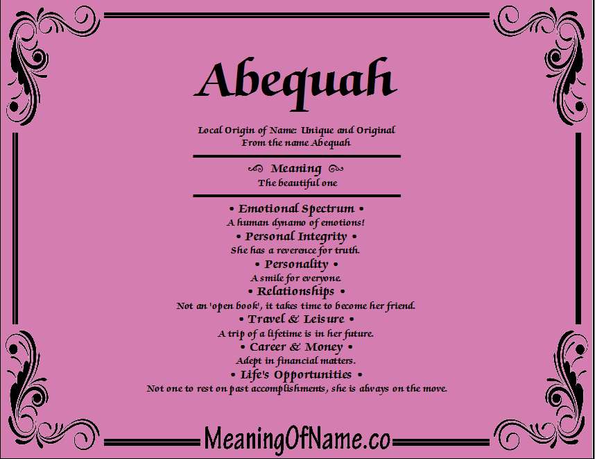 Meaning of Name Abequah