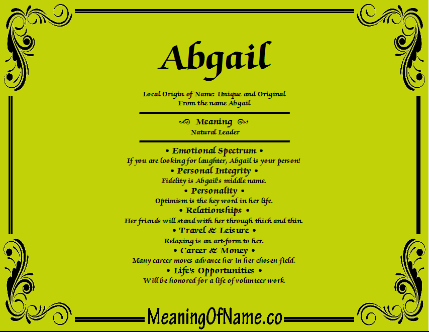 Meaning of Name Abgail