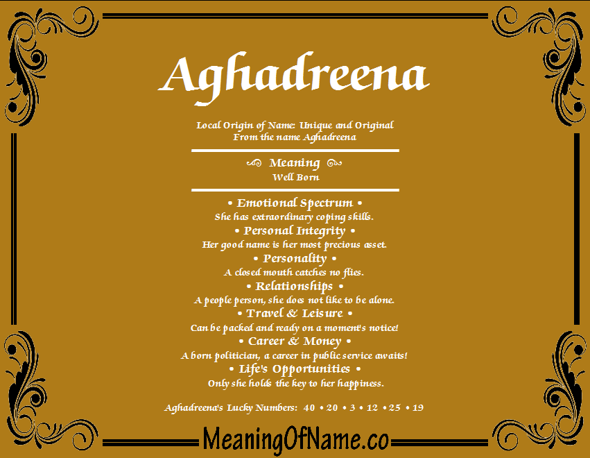 Meaning of Name Aghadreena