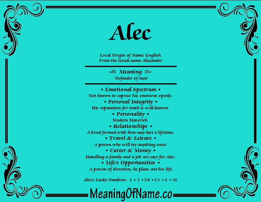 Meaning of Name Alec