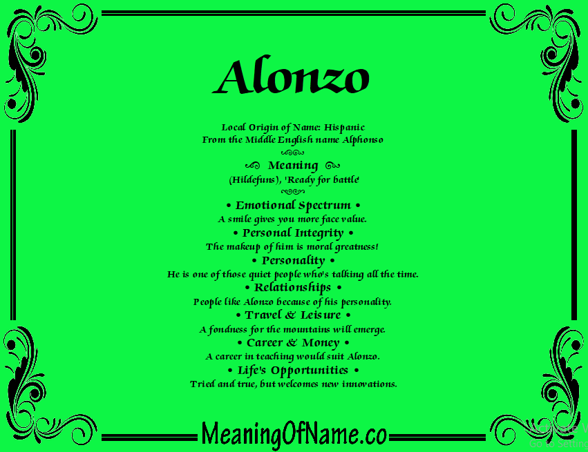 Meaning of Name Alonzo