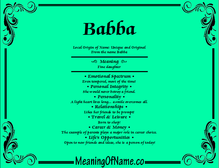 Meaning of Name Babba
