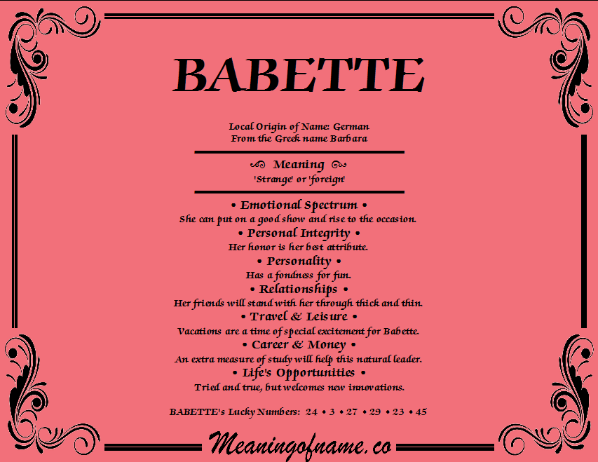 Meaning of Name Babette