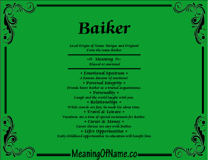 Meaning of Name Baiker