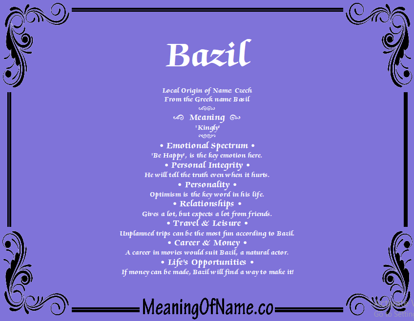 Meaning of Name Bazil