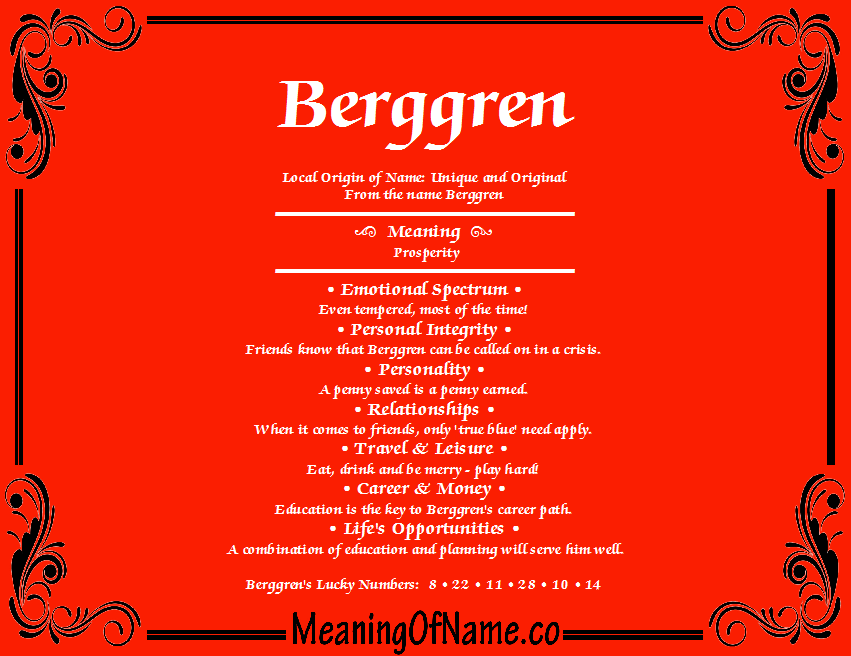 Meaning of Name Berggren