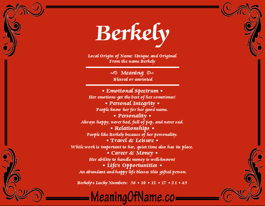 Meaning of Name Berkely