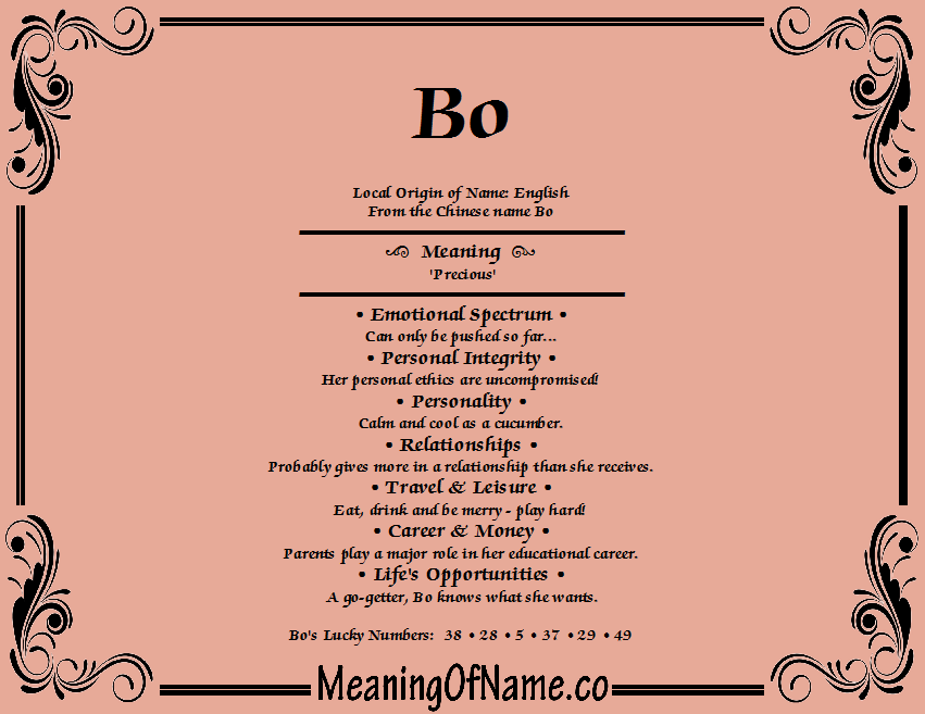 Meaning of Name Bo