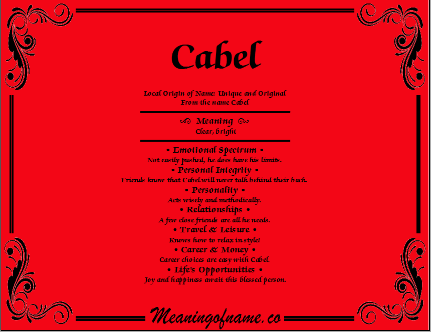 Meaning of Name Cabel