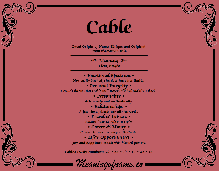 Meaning of Name Cable