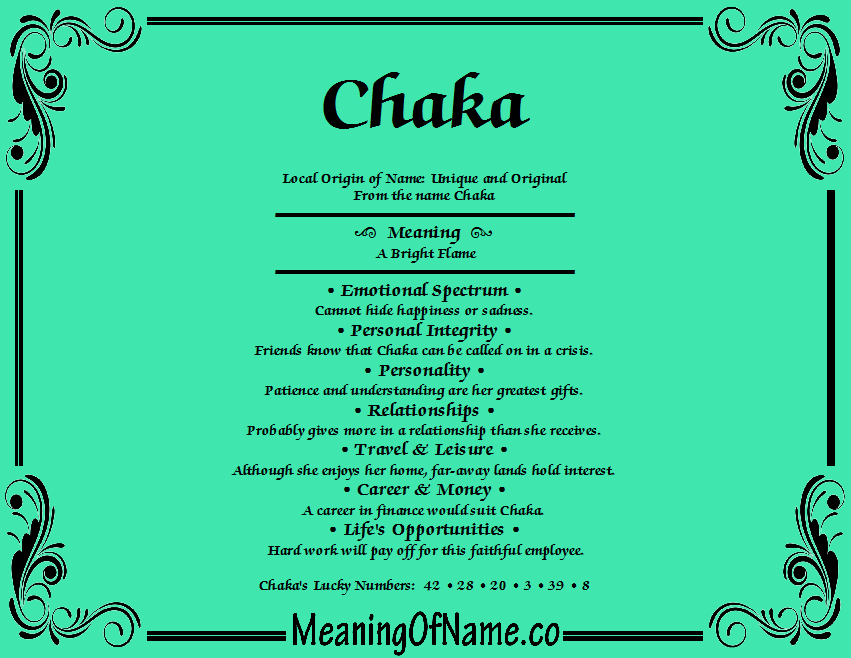 Meaning of Name Chaka