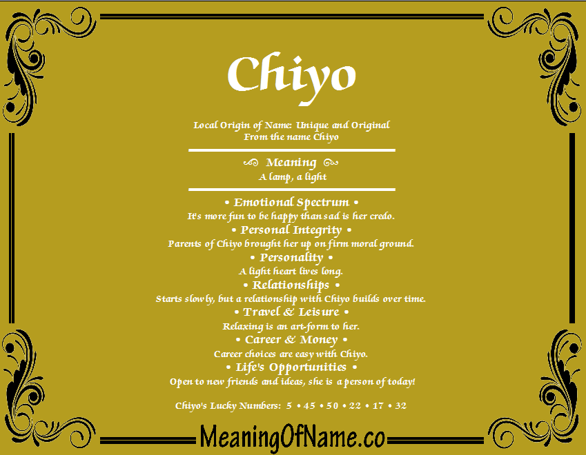 Meaning of Name Chiyo