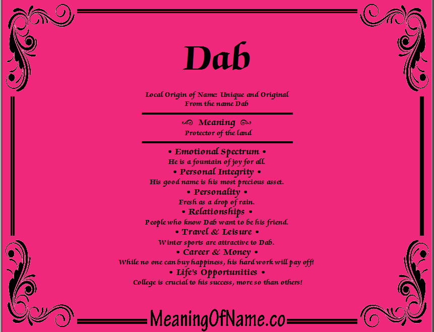 Meaning of Name Dab