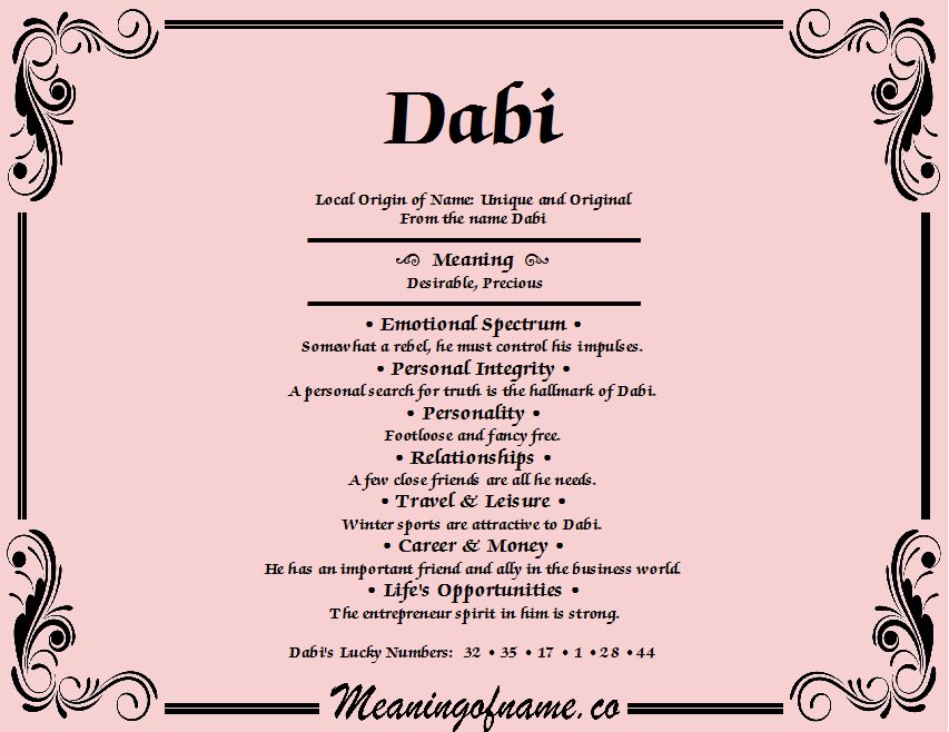 Meaning of Name Dabi
