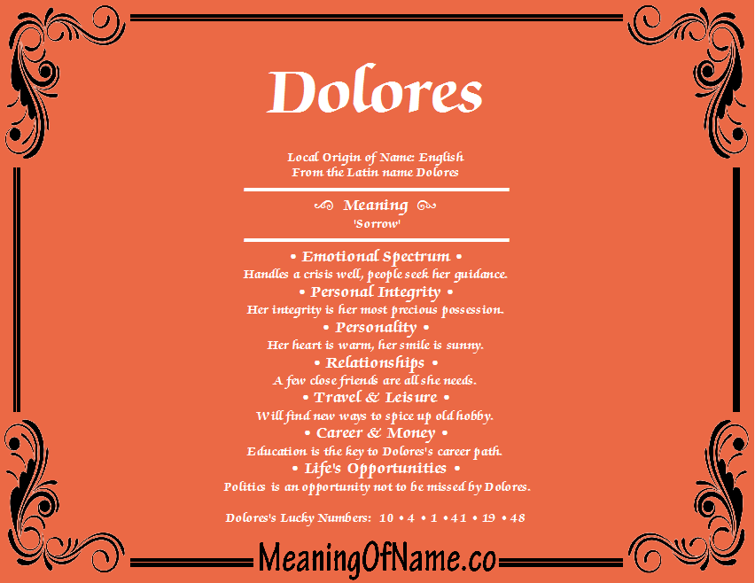 Meaning of Name Dolores