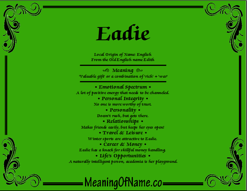 Meaning of Name Eadie