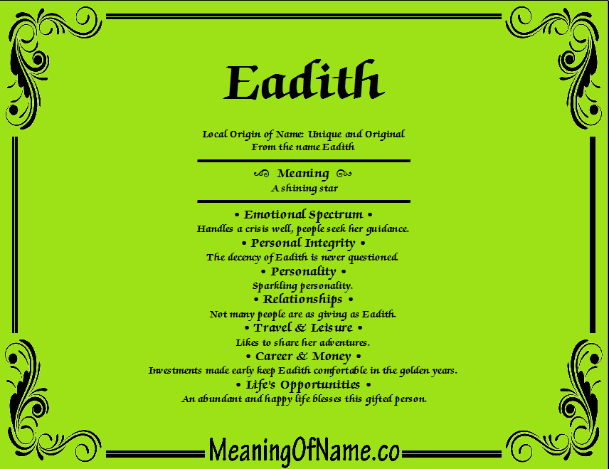 Meaning of Name Eadith