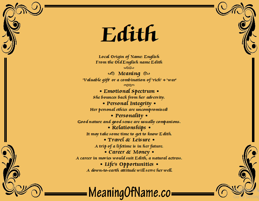 Edith - Meaning of Name