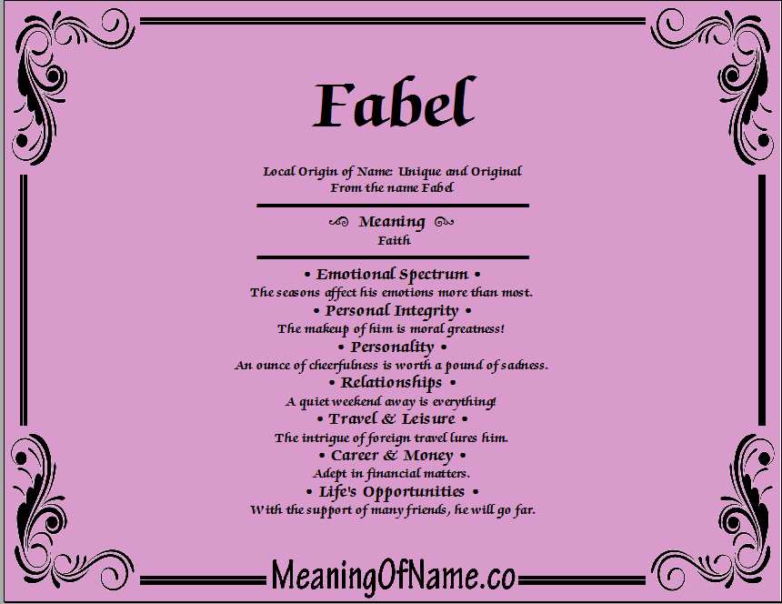 Meaning of Name Fabel
