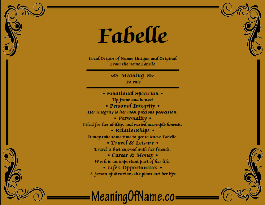 Meaning of Name Fabelle