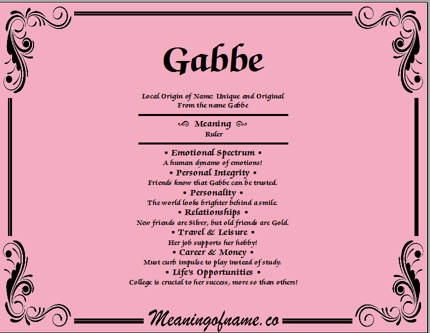 Meaning of Name Gabbe