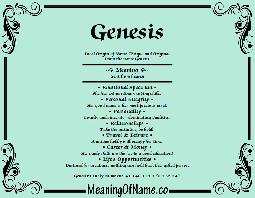 Genesis - Meaning of Name