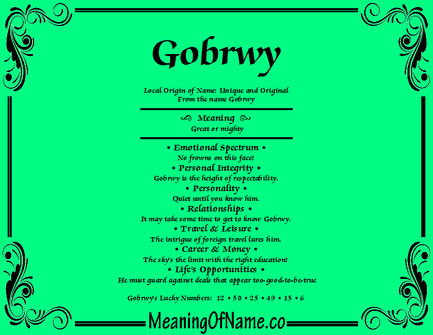 Meaning of Name Gobrwy