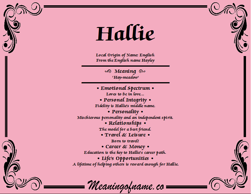 Meaning of Name Hallie