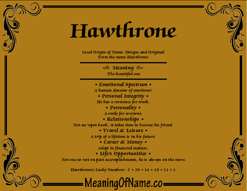 Meaning of Name Hawthrone