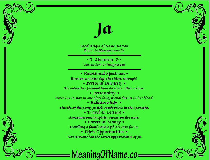 Meaning of Name Ja