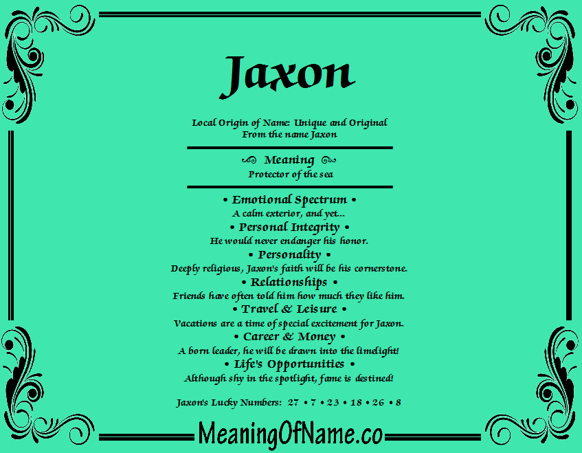 Meaning of Name Jaxon