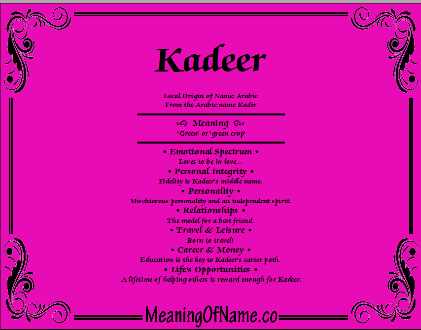 Meaning of Name Kadeer