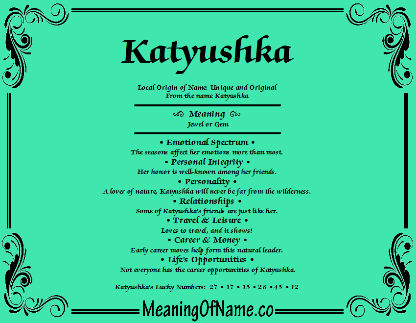 Meaning of Name Katyushka