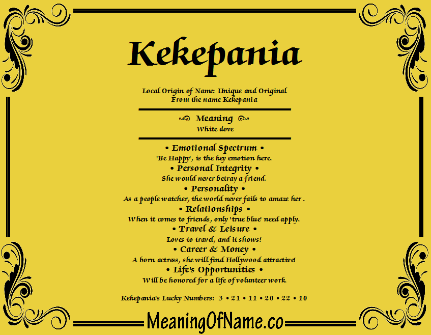 Meaning of Name Kekepania