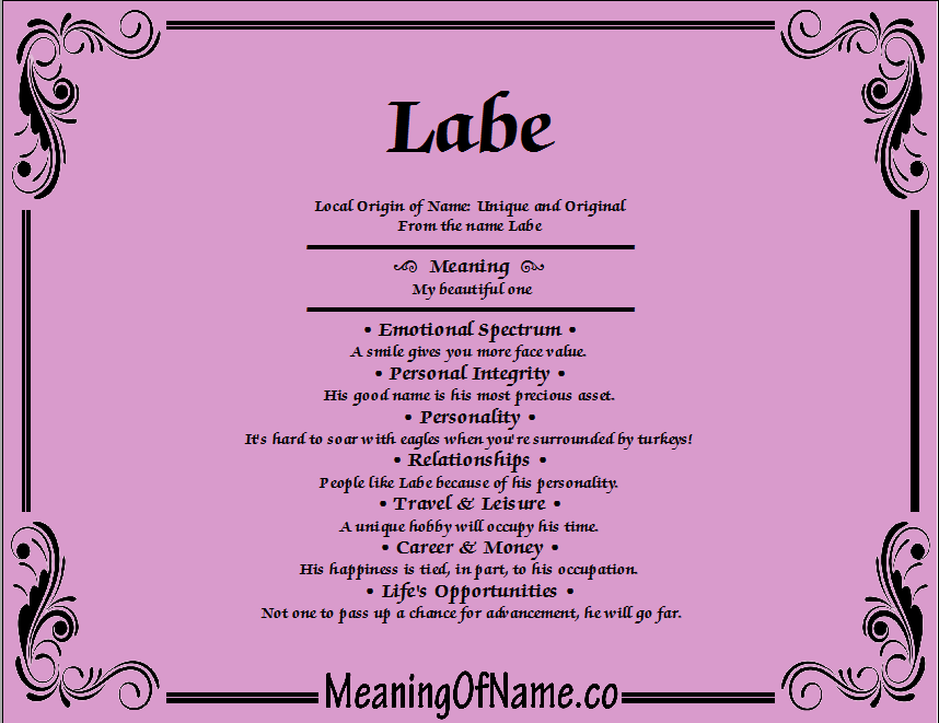 Meaning of Name Labe
